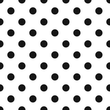 Black and White Polka Dot Seamless Pattern. Classic abstract background from 70s. Retro geometric design for business cards, brochures, website template, greeting, gift paper, textile, fabric. Vector