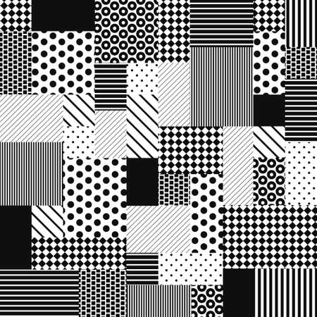 Abstract Black and White Patchwork from simple graphic patterns saved as seamless in swatches. Set of polka dot, striped and line classic 70s designs. Fashion background for fabric, textile. Vector.