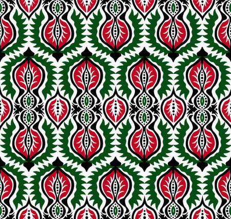 elaborate: Elaborate black, white, red and green floral seamless pattern. Damask background, retro design. Ethnic flower and leaf elements. For fashion fabric, greeting, cover, postcard, gift paper. Vintage look