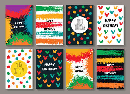 Painted Birthday Card Templates Funny Colorful Postcards With