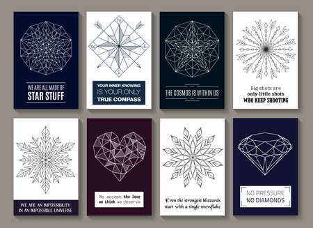 Vector motivational quotes on cards with images of star, compass, round ornament with arrows, snowflakes, heart and diamond. Isolated on mono background. Banners, posters, greetings, line design.
