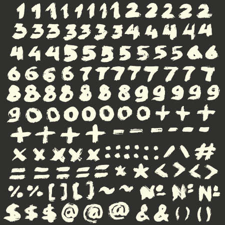 multiply: Vector Chalk Numbers and Punctuation Signs Set. Math symbols, mathematics operators, isolated. Hand drawn brush strokes. Handwritten textured numbers, multiply, email, ampersand.