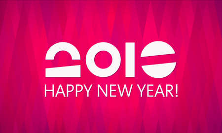 catchy: Happy New Year vector 2016 banner template. Abstract background, geometric pattern. Simple and elegant greeting card design. Original, unusual number of the year 2016. Flat and material design Illustration