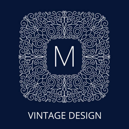stylish decoration: Luxury Vintage Monogram for letter M. Nouveau style, line pattern, vector lines. Intricate design for corporate identity business cards, banners, templates and advertising layout. Blue texture frame.