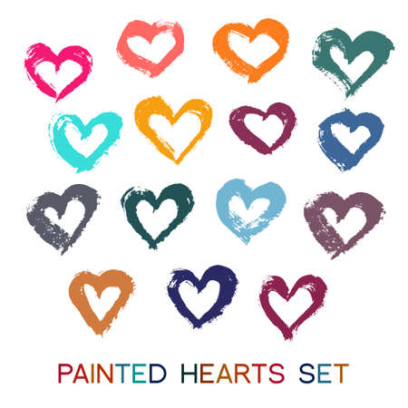 business card hand: Vector Brush Strokes Hearts Set. Paint texture, grunge design. Outline shape, funny colorful design elements. For valentine card, greeting, banner, business card. Hand drawn romantic image.