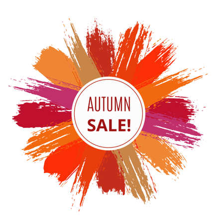 Vector Sale Banner from Brush Strokes. Painted texture, grunge design, colorful design elements. For web advertising, posters, advert layout. Red and orange colorful background, burst star effect. Illusztráció
