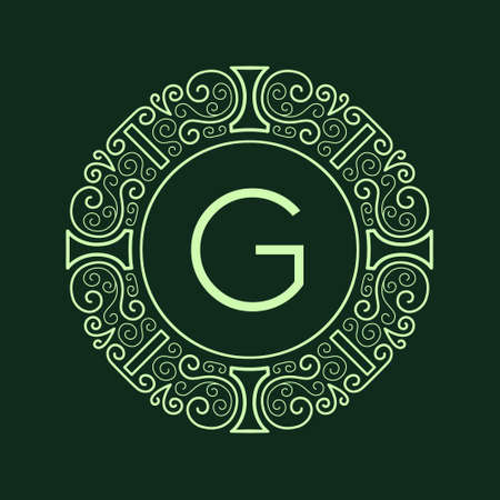 vector lines: Luxury Vintage Monogram for letter G. Nouveau style, line pattern, vector lines. Intricate design for corporate identity business cards, banners, templates and advertising layout. Green texture frame.