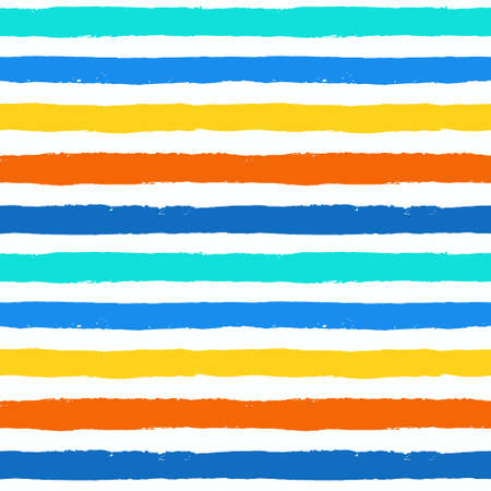 Vector Brush Stroke Textured Seamless Pattern. Colorful striped pattern, painted background. Brush stroke texture. Horizontal lines design. Vibrant colors of blue, orange, yellow, white. Grunge style Çizim