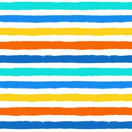 Vektor Pinselstrich Strukturierter nahtlose Muster. Bunte gestreifte Muster, gemalten Hintergrund. Pinselstrich Textur. Horizontale Linien Design. Leuchtende Farben blau, orange, gelb, weiß. Grunge-Stil Vektorgrafik