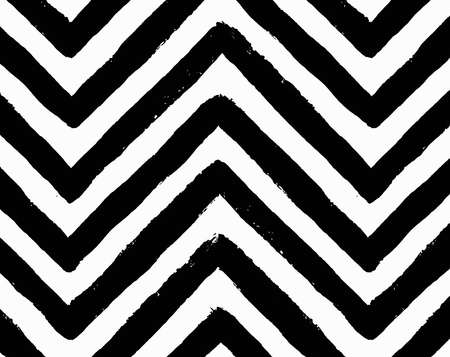 Vector Chevron Seamless Pattern. Black and white geometric background. Brush stroke texture. Zigzag line design, grunge painted image. For gift paper, card, website template, greeting. Abstract lines Vettoriali