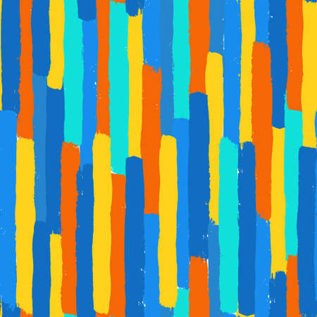 Vector Brush Stroke Textured Seamless Pattern. Colorful striped pattern, painted background. Brush stroke texture. Chaotic vertical lines design. Vibrant colors blue, orange and yellow. Grunge style
