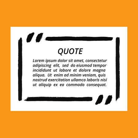 Vector quote blank template. Square quote bubble. Empty template. Grunge brush strokes, painted commas and lines. Textured frame. Business card template, paper sheet, information, text. Quote form. Çizim