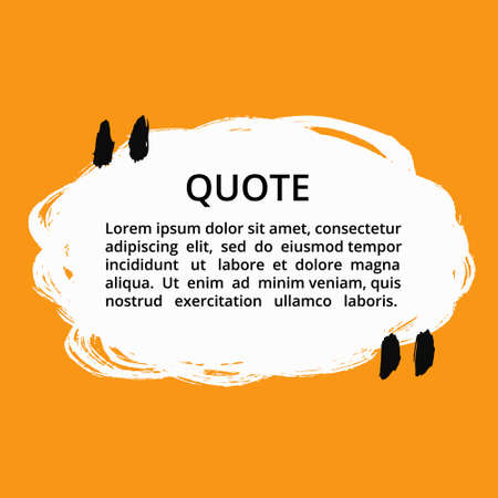 mention: Vector quote blank template. Round quote bubble. Empty template. Grunge brush strokes, painted commas and lines. Textured frame. Business card template, paper sheet, information, text. Quote form.