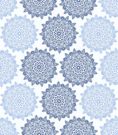 fabric design: Vector Seamless Pattern Blue and White. Intricate flower design, floral elements. Gzhel stylization. Round ornaments. For home decor, site background, card, poster, fabric print, wallpaper, interior.