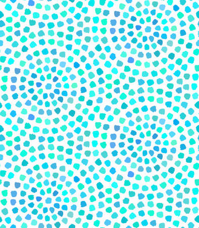 Vector Blue Dots Painted Seamless Pattern. Blue background for summer card, invitation, holiday advertising, greeting, gift paper. Abstract wave from brush strokes dots circle, water dots pattern.