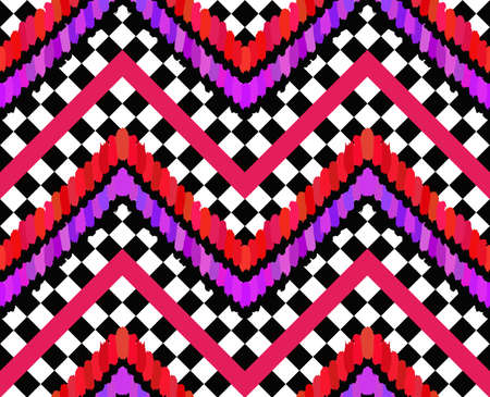 checkered pattern: Vector Brush Strokes Checkers Pattern. Black and white checkered pattern. Bright pop-punk design, lilac, pink, violet and red stripes and feathers. Modern seamless pattern. Abstract geometric fabric Illustration