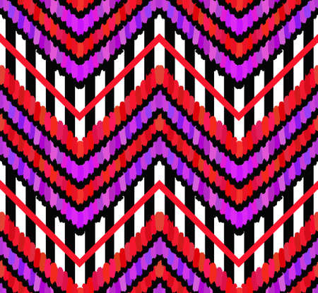 stripe pattern: Vector Brush Strokes and Stripes Pattern. Bright pop-punk design, lilac, pink, violet and red stripes and feathers. Black and white stripe pattern. Modern seamless pattern. Abstract geometric fabric