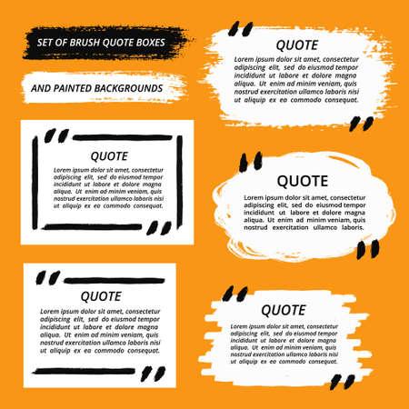 ベクトルの引用ボックス、ブラシ ストローク設定します。引用符を塗られ、引用は泡、空のテンプレートを引用、背景セットを塗装します。塗装の