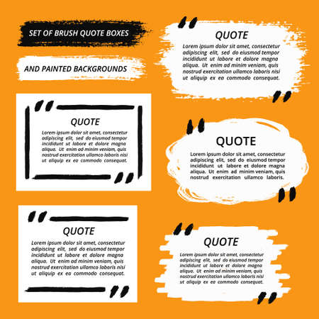 text: Vector Quote Boxes and Brush Strokes Set. Painted quotation marks, quote bubbles, quotes blank templates and painted background set. Painted texture. Brush stroke vector. Grunge frame banner design.