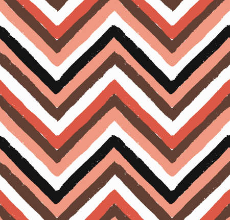 chevron pattern: Vector Chevron Salmon, White and Black Seamless Pattern. Painted background, zigzag brush strokes composition. Vector chevron pattern for fabric print, fashion textile design. Paint texture vector.