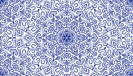 Elegant Blue Flower Seamless Pattern. Vector lines design. Flourish blue background, floral pattern. Arabic motif, oriental design. Hand drawn ornament for greetings, business cards, fabric print.