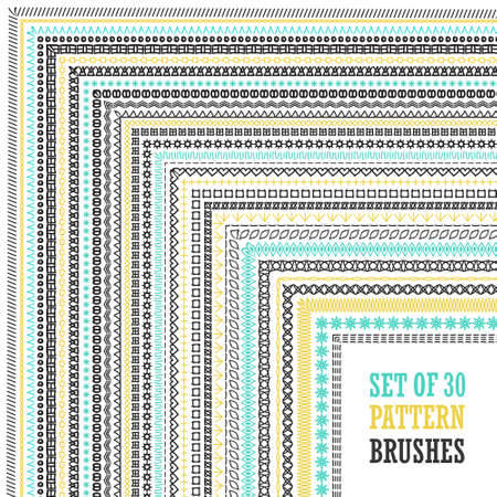 Big set of hand drawn pattern brushes with outer and inner corners. Vector design elements for greeting, anniversary, birthday card, scrapbooking, frames, borders, dividers.  Vettoriali