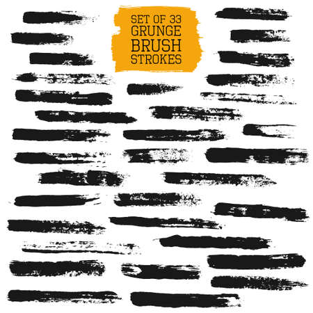 Big set of grunge brush strokes. Vector design elements for pattern brushes, frames, painted backgrounds, banners, labels, badge. Distress texture, black brush strokes isolated on white.  Vettoriali