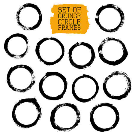 Vector set of grunge circle frames. Collection of brush strokes design elements for banners, labels, badges. Distress texture, black painted strokes isolated on white. EPS 10 vector