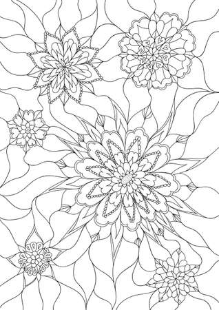 Vector flowers coloring page. Monochrom image. Black and white unusual floral pattern for coloring book. Line design decoration. Inricate fantasy flowers texture. Hand drawn EPS10 vector Vettoriali