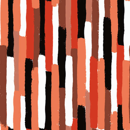Vector Brush Stroke Textured Seamless Pattern. Colorful striped pattern, painted background. Brush stroke texture. Chaotic vertical lines design. Black, white, orange, pink, brown colors. Grunge style Vettoriali