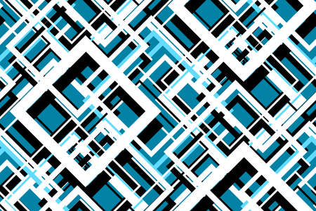 Trendy contrast geometric seamless pattern. Vector line design fashion textile, fabric print, website template. Abstract background of white, blue, black squares. Vector contrast graphic image