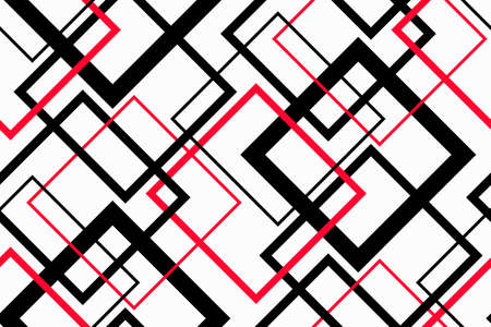Trendy Geometric Seamless Pattern. Vector line design for fashion textile, fabric print, website template. Abstract background of black and red squares isolated on white. Vector contrast graphic image