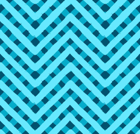 chevron pattern: Vector chevron blue seamless pattern. Painted background, zigzag brush strokes composition. Vector chevron pattern for fabric print, textile design, fashion clothes. Paint texture vector.