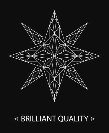 black white: Brilliant Star Logo on black background. Elegant line design for corporate identity, business card, website template. Thin lines star pattern. Crystal structure anf delicate texture. 10EPS vector