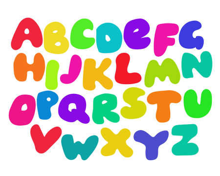 school baby: Funny Colorful Alphabet poster for children. Cute cartoon alphabetic letters in vibrant rainbow colors. Bold font abc, rounded type for birthday greeting, baby shower card. Vector alphabet. Illustration