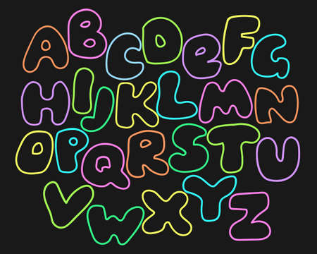 Funny glowing alphabet from neon letters. Cute cartoon alphabetic letters in vibrant rainbow colors. Bold font abc, rounded type for birthday greeting, baby shower card. Vector alphabet.