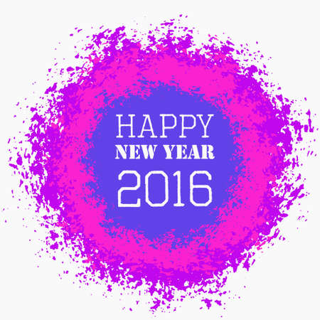blank space: Happy New Year 2016 Colorful Greeting. Blank space on isolated round paint splashes shape. For posters, banners, advert template. Distress grunge background. EPS 10 vector. Vivid design