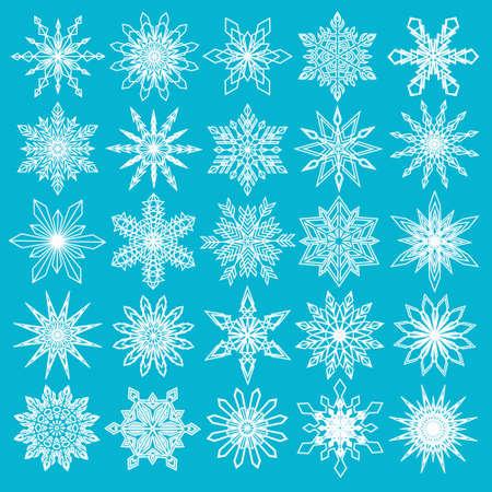 estado del tiempo: Vector de los copos de nieve Set. copos de nieve finas, forma intrincada. La decoración de Navidad bien para la tarjeta de Navidad, Bandera de la venta de Navidad, papel de regalo. los copos de nieve blancos aislados sobre fondo azul. Ilustración de EPS10