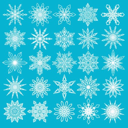 weather: Vector Snowflakes Set. Thin snowflakes, intricate shape. Fine Christmas decoration for Christmas card, Christmas sale banner, gift paper. White snowflakes isolated on blue background. Vector EPS10