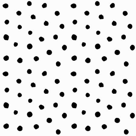 Chaotic Polka Dots Seamless Pattern. Vector painted background from small rounds. Abstract white and black pattern for fabric print, paper card, table cloth, fashion.  イラスト・ベクター素材