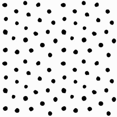 Patrón sin fisuras de los lunares caótica. Vector de fondo pintado de pequeñas rondas. Modelo blanco y negro abstracto para la impresión de la tela, tarjeta de papel, manteles, la moda.