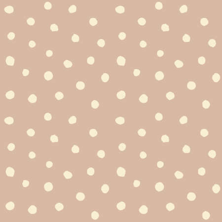 Chaotic Polka Dots Seamless Pattern. Vector painted background from small rounds. Abstract brown and white pattern for fabric print, paper card, table cloth, fashion.