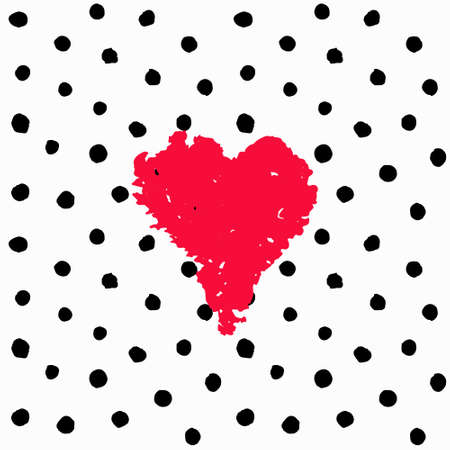 Chaotic Polka Dots Seamless Pattern with pink heart shape. Valentine card. Vector painted background. Abstract white and black pattern for fabric print, paper card, table cloth, fashion.