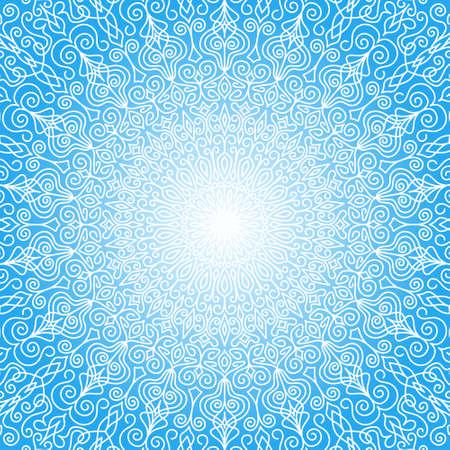 空に白い曼荼羅太陽。花柄織り繁栄のデザイン要素から複雑な丸い飾り。カード、ご挨拶、結婚式の招待状の白と青の背景。ベクトル線設計