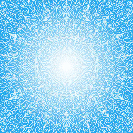 White Mandala Sun in the Sky. Intricate round ornament from floral pattern with weave flourish design elements. White and blue background for cards, greetings, wedding invitations. Vector lines design