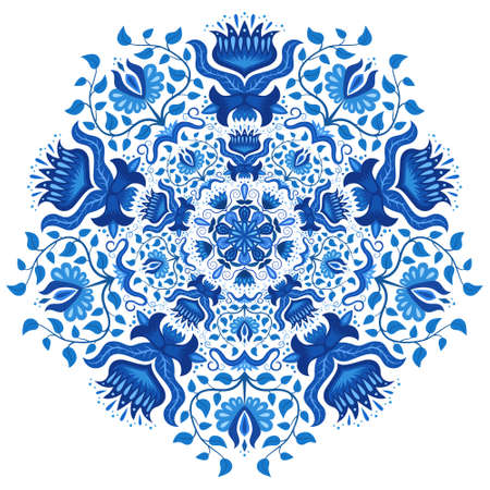 gzhel: Round ornament in gzhel style. Blue and white circle hand drawn background. Oriental traditional ornament. Ethnic Indian, Islamic, Asian, ottoman, russian motif. Mandala gzhel. Vector illustration