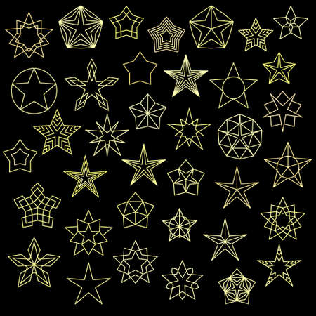 Big Set of Colorful Star Icons. Vector line design. Vector stars isolated on black background. Starry image for icons, tattoos, banners, websites, corporate identity, business card.