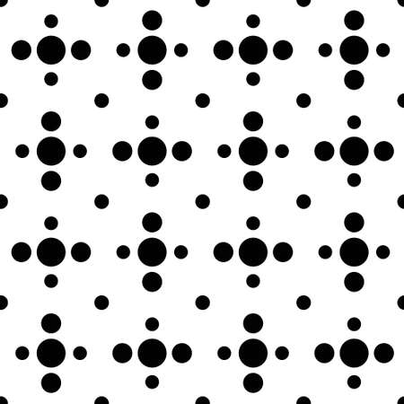 90s: Black and white cross polka dot seamless pattern. Square arrangement of simple rounds. Geometric background from minimalistic ornament. Black and white design. Graphic vector for fabric print.