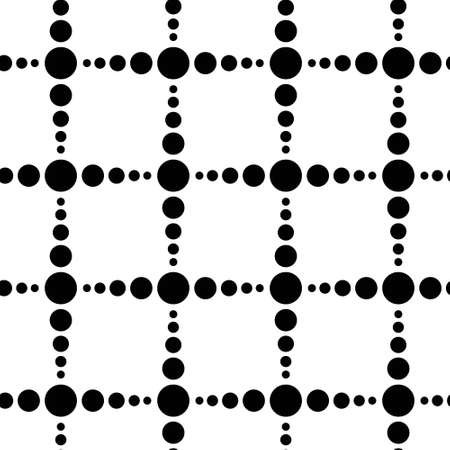 nineties: Unusual black and white polka dot checked seamless pattern. Square arrangement of simple rounds. Geometric background from minimalistic ornament. Black and white design. Graphic vector for fabric print. Illustration