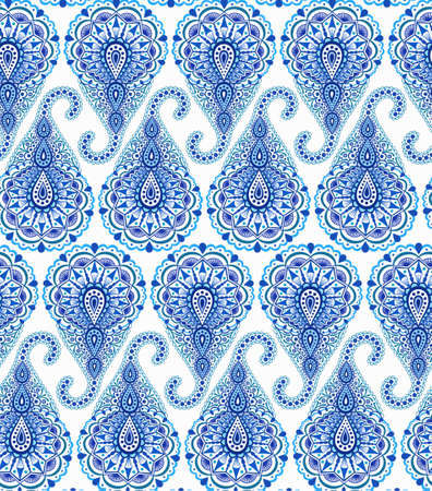 curving: Intricate Blue Paisley Pattern. Traditional Persian seamless pattern. Buta almond shape, curving teardrop with floral elements. Blue and white flower design.